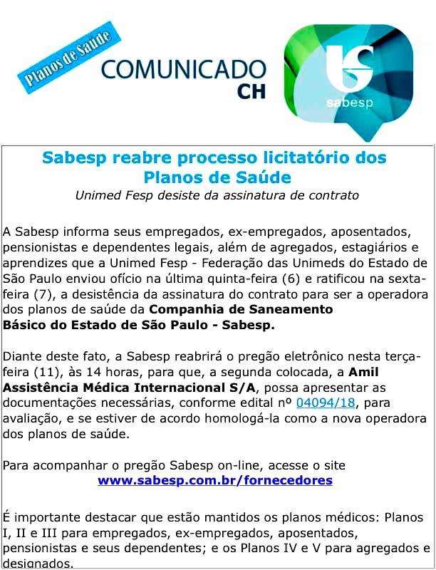 Comunicado Sabesp